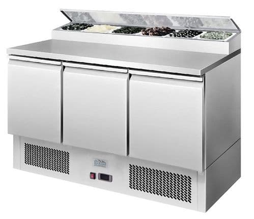 3 Door Refrigerated Saladette Pizza Prep Counter 380Ltrs